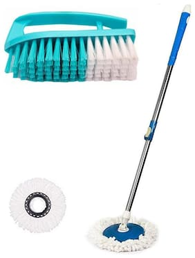 TOPREDO 360 Degree Mop Rod Stick Stainless Steel with 2 Refills Super Absorbent Refills for All Home & Office Floor Cleaning & Free Cloth Washing Brush