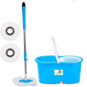 TOPREDO Mop Floor Cleaner with Bucket Set Offer with Big Wheels for Best 360 Degree Easy Magic Cleaning;Blue with 2 Microfiber