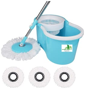 TOPREDO Mop with 3 Refills Super Absorbent Refills 360 Degree Spin Bucket;180 Degree Flexible Handle;for Perfect Cleaning