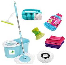 TOPREDO Mop with 2 Refills Super Absorbent Refills for All Home & Office Floor Cleaning And FREE(Glass Wiper;Microfiber Cloth;Microfiber Gloves;Brush;Soap Dispenser)