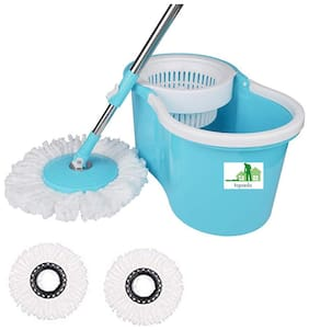 TOPREDO Mop with 2 Refills Super Absorbent Refills 360 Degree Spin Bucket;180 Degree Flexible Handle;for Perfect Cleaning