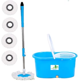 TOPREDO Mop Floor Cleaner with Bucket Set Offer with Big Wheels for Best 360 Degree Easy Magic Cleaning;Blue with 4 Microfiber
