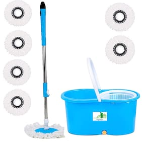 TOPREDO Mop Floor Cleaner with Bucket Set Offer with Big Wheels for Best 360 Degree Easy Magic Cleaning;Blue with 6 Microfiber
