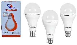 Topsoil Inverter Led Bulb 9 Watt Power Backup Up To 3 Hours Pack Of 3