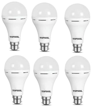 TopSoil Rechargeable Inverter Emergency ACDC LED Bulb 9 Watt Power Backup up to 3 Hours Pack of 6