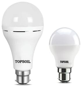 Topsoil Rechargeable Inverter Emergency Led Bulb Pack Of One Inverter Led Bulb And One Normal 9 Watt Led Bulb