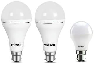 Topsoil Rechargeable Inverter Emergency Led Bulb Pack Of Two Inverter Led Bulb And One Normal 9 Watt Led Bulb