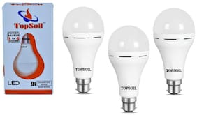 Topsoil Rechargeable Inverter Emergency Acdc Led Bulb 9 Watt Power Backup Up To 3 Hours (Pack Of 3)