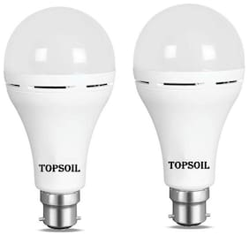 TopSoil Rechargeable Inverter Emergency ACDC LED Bulb 9 Watt Power Backup up to 3 Hours Pack of 2