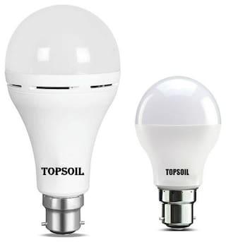 Topsoil Rechargeable Inverter Emergency Led Bulb Pack Of One Inverter Led Bulb And One Normal 9 Watt Led Bulb
