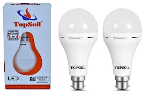Topsoil Rechargeable Inverter Emergency Acdc Led Bulb 9 Watt Power Backup Up To 3 Hours (Pack Of 2)