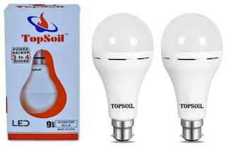 Topsoil Rechargeable Inverter Led Bulb 9 Watt Power Backup Up To 3 Hours Pack Of 2