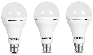 TopSoil Rechargeable Inverter Emergency ACDC LED Bulb 9 Watt Power Backup up to 3 Hours Pack of 3