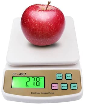 TOQON Electronic Digital 10 Kg Weight Scale Kitchen Weight Scale Machine Measure for Measuring Fruits,Spice,Food,Vegetable and More (Sf-400) White