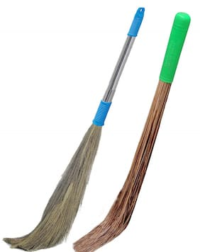 Total Solution Broom Stick For Home Cleaning Combo - 1 Hard & 1 Soft of Broom (Pack of 2,Medium Sizer)
