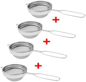 Total Solution 4 pcs Stainless Steel Tea Strainer Chai Channi, Silver (Pack Of 4).