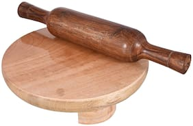 total solution handmade Roti Rolle/wooden Chakla Belan/wooden Roti Maker/Rolling Pin (Brown Chakla + Wooden Rolling Pin)