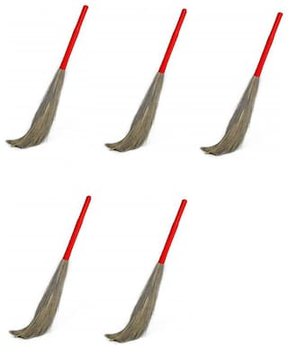Total Solution Plastic Handle For All Floor Cleaning Broom King Size Broom Stick For Home Cleaning Soft Grass Eco-Friendly Broom Stick Mop For All Floor Cleaning Soft Grass Broom Pack of 5