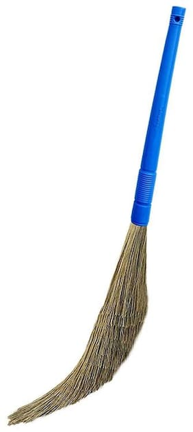 Total Solution Plastic Broom Stick For Home Cleaning | Soft Synthetic Bristles Like Natural Grass | Leaves No Dust On Floor | Lasts Long Than Traditional Jharu Pack of 1