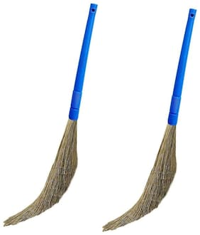 Total Solution Plastic Broom Stick For Home Cleaning   Soft Synthetic Bristles Like Natural Grass   Leaves No Dust On Floor   Lasts Long Than Traditional Jharu Pack of 2