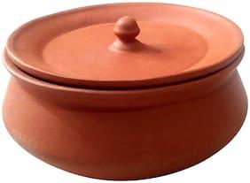 total solution Kadai/Mud Handi/Mitti Ke Bartan/Clay Pot for Cooking & Serving 750 ml handi benifit for health pack of 1