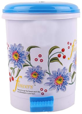 Total Solution Floral Design 1 pc Plastic Dustbin,Small,Blue Set 1