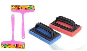 Total Solution Kitchen Wiper And Tiles Scrubber Brush Set (2 Kitchen Wiper And 2 Tiles Scrubber) Random Color Set Of 4