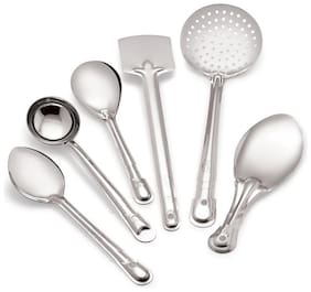 Total Solution Stainless Steel Serving And Cooking Spoon  Palta/Spatula/Turner + Deep Ladle   Steel Spoon Set For Kitchen;6 pcs