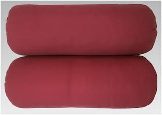 "Touch Pillows Hotel Quality Bolsters- Round Hard Pillows- Big Size (9""x24"" Inches) (Set Of 2 pcs) (Maroon)"