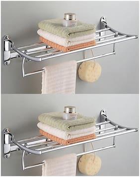 Towel Rack/folding rack/bathroom towel rack combo/towel hanger/Towel Rack for kitchen/bathroom cloth hanger/folding cloth hanger/ towel rack brass for bathroom-24 inch(Pack of-2)