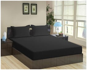 """Trance 100% Cotton 200TC Elasticated Queen Fitted Bedsheet with 2 Pillow Covers (Black, Queen 78""""x60"""")"""