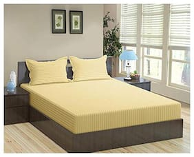 """Trance 100% Cotton 200TC Elasticated Queen Fitted Bedsheet with 2 Pillow Covers (Beige, Queen 78""""x60"""")"""