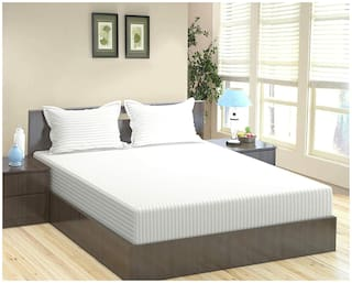 """Trance 100% Cotton 200TC Elasticated Queen Fitted Bedsheet with 2 Pillow Covers (White, Queen 78""""x60"""")"""