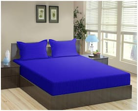 """Trance 100% Cotton 200TC Elasticated Queen Fitted Bedsheet with 2 Pillow Covers (Ink Blue, Queen 78""""x60"""")"""