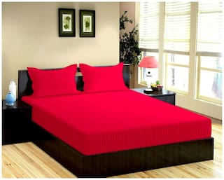 """Trance 100% Cotton 200TC Elasticated Queen Fitted Bedsheet with 2 Pillow Covers (Dark Pink, Queen 78""""x60"""")"""