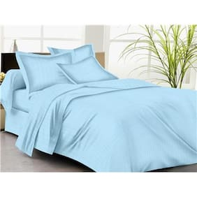 Trance Home Linen KING DUVET COVER Self Satin 200 TC SKY BLUE And 2 PILLOW COVERS