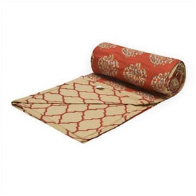 Trance Home Linen Cotton Dohar Single (Clay Red -Set of 1)