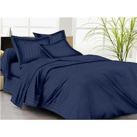 Trance Home Linen KING DUVET COVER Self Satin 200 TC DARK BLUE And 2 PILLOW COVERS