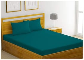 Trance Home Linen Cotton 400TC Plain Queen Bedsheet with 2 Pillow Covers (Teal)