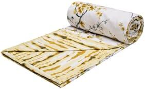 Trance Home Linen Cotton Dohar Single (Akira Yellow Brown -Set of 1)