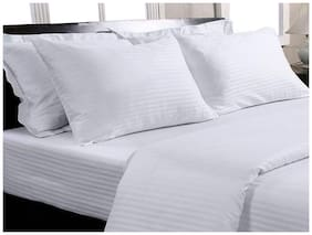 Trance Home Linen KING DUVET COVER Self Satin 200 TC WHITE And 2 PILLOW COVERS