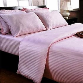 Trance Home Linen Queen Cotton Satin Fitted Bedsheet 200 TC - Light Pink And 2PILLOW COVERS