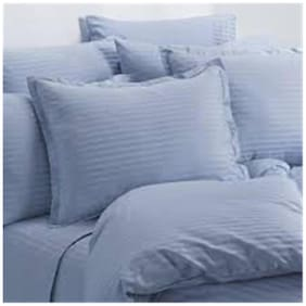 Trance Home Linen PREMIUM COTTON 200 TC SELF SATIN STRIPE PILLOW COVER SET-SKY BLUE-Pack of 2