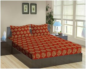 Trance Home Linen 100% Cotton 200 TC Damask Printed Queen Flat Bedsheet with 2 Pillow Covers ( 86 x 104 inch ,Damask Clay Red )