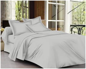 Trance Home Linen Cotton 400TC Plain King Bedsheet with 2 Pillow Covers (Silver Grey)