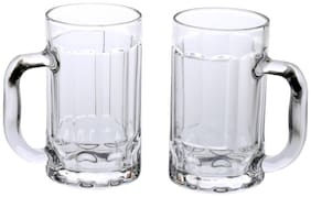 Trandy & New Design Stylish Glass Beer Mug With Handle Set Of 2