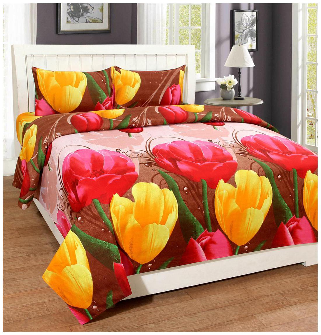 Trendz Home Furnishing Printed Double Bedsheet With 2 Pillow Covers