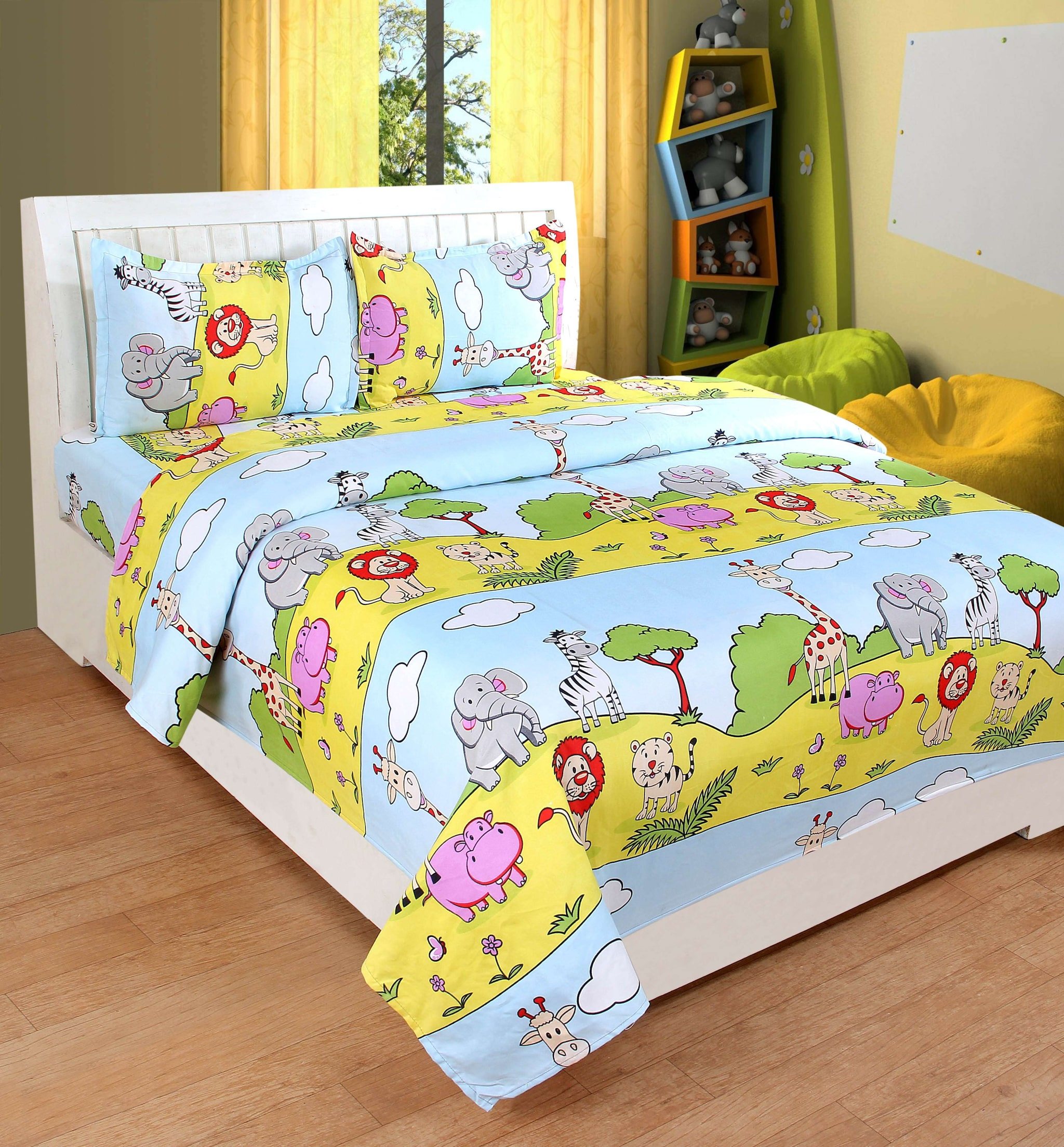 Trendz Home Furnishing Kids Unisex 3D Printed Poly Cotton Jungle Animals Bed  Sheet 1 Double