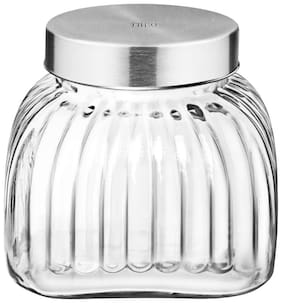 Treo Glass Grocery Container Set of 1 ( 2500 ml , Transparent )