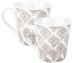 Treo by Milton Earthen Art Ceramic Mug, Set of 2, 210 ml, Brown Spiral